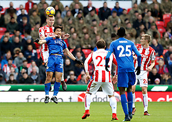 Stoke City's Ryan Shawcross (left) and Leicester City's Shinji Okazaki (right) battle for the ball