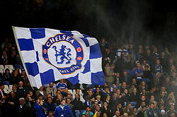 A Chelsea flag is flown before the start of the match - Photo mandatory by-line: Rogan Thomson/JMP - Tel: 07966 386802 - 18/09/2013 - SPORT - FOOTBALL - Stamford Bridge, London - Chelsea v FC Basel - UEFA Champions League Group E