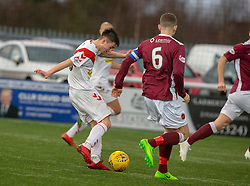 Airdrie's Declan Glass. Stenhousemuir 1 v 0 Airdrie, Scottish Football League Division One played 26/1/2019 at Ochilview Park.