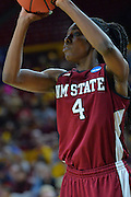 March 18, 2016; Tempe, Ariz;  New Mexico State Aggies guard Sasha Weber (4) shoots a jumper during a game between No. 2 Arizona State Sun Devils and No. 15 New Mexico State Aggies in the first round of the 2016 NCAA Division I Women's Basketball Championship in Tempe, Ariz. The Sun Devils defeated the Aggies 74-52.