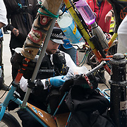 2021-09-01, London, UK. EPolice searching a Extinction Rebellion bike in Trafalgar square.