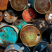 A pile of rusty but colorful empty drums in rural Minnesota.