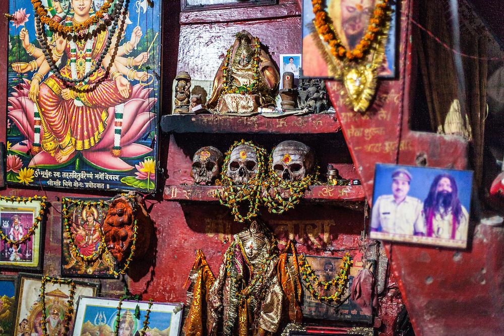 The tiny temple of Shri Baba Chamunda Ram, an Aghori, Tantra and Yantra yogi.