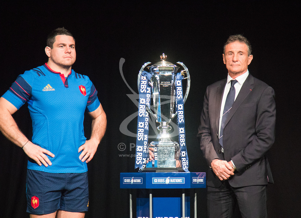 Hurlingham Club, London, January 27th 2016. France Captain Guilhem Guirado and Head Coach Guy Novès at the launch of the RBS Six Nations Rugby Tornament. ///FOR LICENCING CONTACT: paul@pauldaveycreative.co.uk TEL:+44 (0) 7966 016 296 or +44 (0) 20 8969 6875. ©2015 Paul R Davey. All rights reserved.