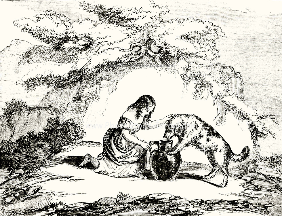 Patty and the Thirsty Dog from Patty and her pitcher a  Fairy Tale from the book 'Fairy tales' by Forrester, Alfred Henry, 1804-1872 [Alfred Henry Forrester (10 September 1804 – 26 May 1872) was an English author, comics artist, illustrator and artist, who was also known under the pseudonym of Alfred Crowquill.