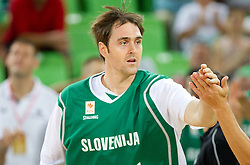 Erazem Lorbek of Slovenia during friendly basketball match between National teams of Slovenia and Montenegro of Adecco Ex-Yu Cup 2011 as part of exhibition games before European Championship Lithuania 2011, on August 7, 2011, in Arena Stozice, Ljubljana, Slovenia. Slovenia defeated Crna Gora 86-79. (Photo by Vid Ponikvar / Sportida)