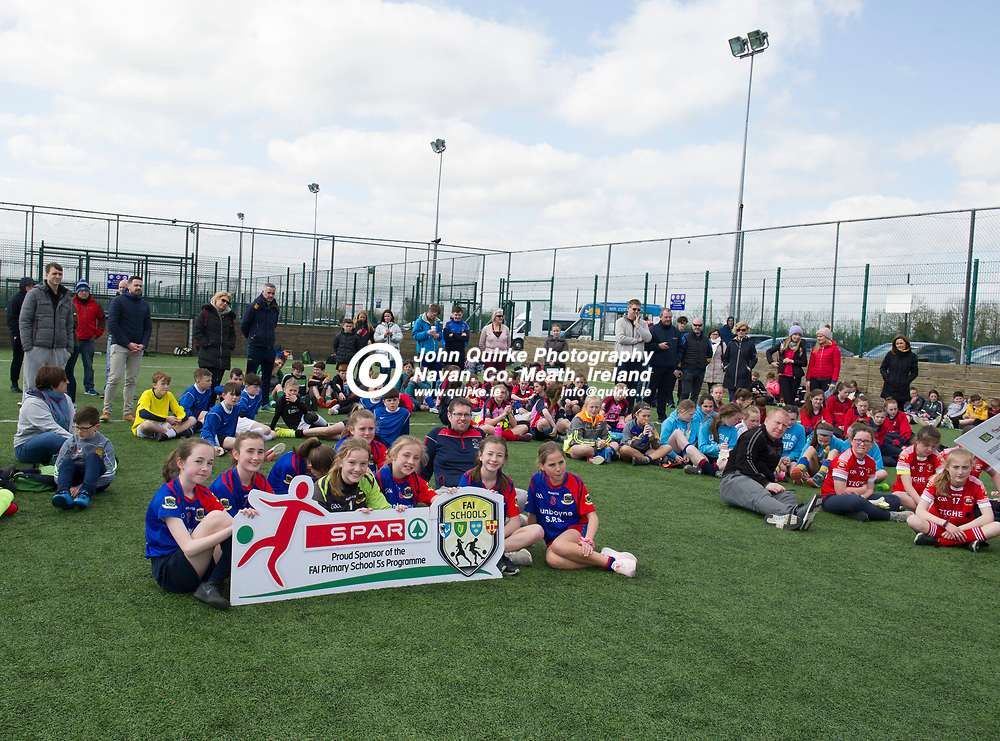 10-04-19. SPAR & FAI Primary School 5's Meath County Final at the MDL Grounds, Navan.<br /> The scene prior to the presentation of Qualifiers and Runners-Up medals.<br /> Photo: John Quirke / www.quirke.ie<br /> ©John Quirke Photography, Unit 17, Blackcastle Shopping Cte. Navan. Co. Meath. 046-9079044 / 087-2579454.