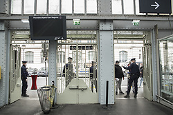Police control at the entrances and exits of the Gare de l'Est in Paris, France, on April 03, 2020, during the covid-19 emergency lockdown. Photo by Pierrick Villette/Avenir Pictures/ABACAPRESS.COM