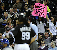 CHICAGO - SEPTEMBER 10:  White Sox fans welcome Manny Ramirez #99 of the Chicago White Sox during his first at-bat in Chicago during the game against the Kansas City Royals on September 10, 2010 at U.S. Cellular Field in Chicago, Illinois.  (Photo by Ron Vesely)