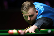 Jackson Page, the 16 year old from South Wales during his 1st round match against Sean O'Sullivan. ManBetx Welsh Open Snooker 2018, day 1 at the Motorpoint Arena in Cardiff, South Wales on Monday 26th February 2018.<br /> pic by Andrew Orchard, Andrew Orchard sports photography.