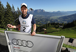 23.06.2016, Hahnenkamm, Kitzbuehel, AUT, Golf, Streif Attack 2016, im Bild ehemalige Hahnenkamm Sieger Marco Buechel // former ski racer and Streif winner Marco Buechel during Streif Attack 2016 as a side event of Kitzbuhel Golf week at the Hahnenkamm in Kitzbuehel, Austria on 2016/06/23. EXPA Pictures © 2016, PhotoCredit: EXPA/ SM<br /> <br /> *****ATTENTION - OUT of GER*****
