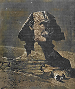 """Machine Colourised (AI) The SPHINX. Called by the Arabs """" Father of Terrors."""" It faces the east, and is hewn out of the natural rock. Wood engraving from 'Picturesque Palestine, Sinai and Egypt' by Wilson, Charles William, Sir, 1836-1905; Lane-Poole, Stanley, 1854-1931 Volume 4. Published in 1884 by J. S. Virtue and Co, London"""