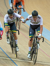 January 27, 2019 - Hong Kong, Hong Kong SAR, China - The Australian team of Sam Welsford and Kelland O'Brien in the Mens Madison Final.UCI Track Cycling World Cup Hong Kong 2019, Qualifiers Leg VI at the Hong Kong Velodrome in Tseung Kwan O ,Kowloon (Credit Image: © Jayne Russell/ZUMA Wire)
