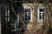 Chernobyl Exclusion Zone, Belarus. Houses 20 years after evacuation. Evacuated region designated as high risk for contamination of nuclear radiation. Homes are left derelict. The region has  become a natural wildlife reserve. It is controled by rangers, otherwise it is uninhabited. One of biggest dangers is a forest fire which could move large quantities of radioactivity by airborn means to areas otherwise unaffected.