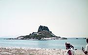 Tourists at Agios Stefanos island and beach, Kos, Greece 1970s