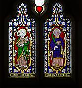 Mid nineteenth century stained glass window, All Saints church, Yatesbury, Wiltshire, England, UK