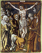 Crucifixion.  Christ on the cross after side has been pierced by soldier's spear. Women on left, soldiers on right. Enamel by Leonard Limousin (c1505-c1577) French painter, Limoges.