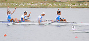 Marathon, GREECE,  ITA LM4-. Bow, Salvatore AMITRANO, Fabrizo GABRIELE, Andrea CAINNIELLO and Armondo DELL'AQUILA,  winning the final of the men's lightweight fours, at the FISA European Rowing Championships.  Lake Schinias Rowing Course, SAT. 20.09.2008  [Mandatory Credit Peter Spurrier/ Intersport Images] , Rowing Course; Lake Schinias Olympic Rowing Course. GREECE