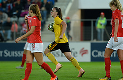 October 9, 2018 - Biel, SWITZERLAND - Belgium's Tine De Caigny bringing back the ball after scoring the 1-1 equalizer a soccer game between Switzerland and Belgium's national team the Red Flames, Tuesday 09 October 2018, in Biel, Switzerland, the return leg of the play-offs qualification games for the women's 2019 World Cup. BELGA PHOTO DAVID CATRY (Credit Image: © David Catry/Belga via ZUMA Press)