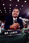 Bert Lance, director of the U.S. Office of Management and Budget under President Jimmy Carter. Lance is seated at the witness table during a Congressional inquiry of his banking practices when he worked as a rural Georgia banker.