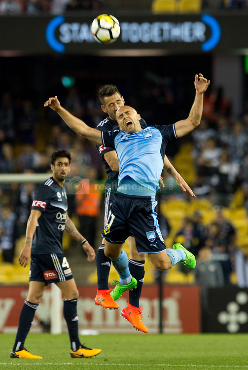 October 7, 2017 - Melbourne, Victoria, Australia - Adrian Mierzejewski (#11) of Sydney FC and Carl Valeri (#21) of Melbourne Victory in action during the round 1 match between Melbourne Victory and Sydney FC at Etihad Stadium in Melbourne, Australia during the 2017/2018 Australian A-League season. (Credit Image: © Theo Karanikos via ZUMA Wire)