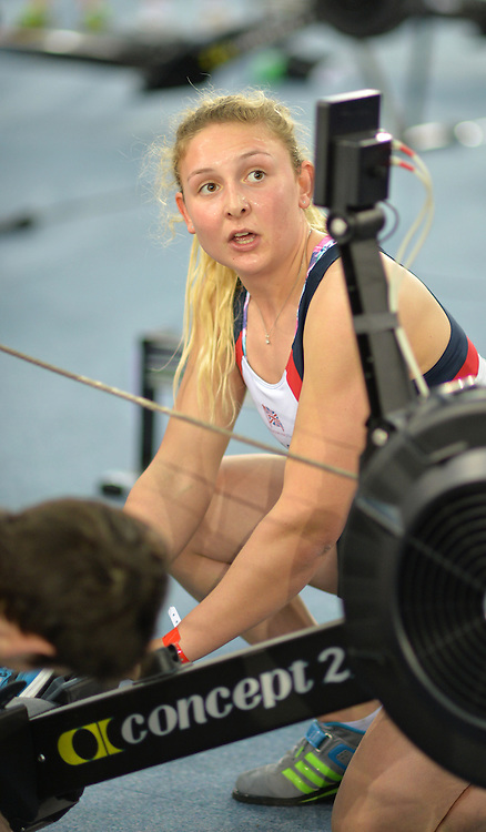 London, United Kingdom. Jess LEYDEN, competing in the nixed relay.   2015 British Rowing Indoor Championships.  Lee Valley Velodrome. [ Venue for the 2012 London Olympic Track Cycling]  Sunday  08/02/2015  [Mandatory Credit; Peter Spurrier/Intersport-images]