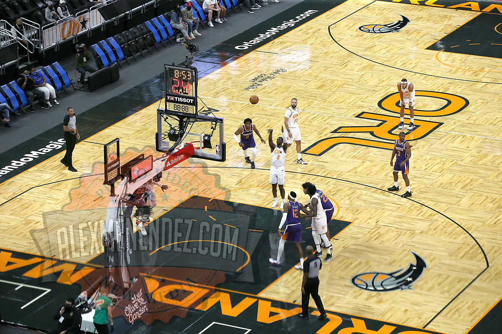 ORLANDO, FL - MARCH 24: Dwayne Bacon #8 of the Orlando Magic attempts a free throw against the Phoenix Suns at Amway Center on March 24, 2021 in Orlando, Florida. NOTE TO USER: User expressly acknowledges and agrees that, by downloading and or using this photograph, User is consenting to the terms and conditions of the Getty Images License Agreement. (Photo by Alex Menendez/Getty Images)*** Local Caption *** Dwayne Bacon