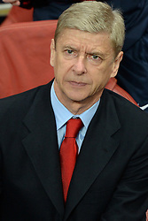 LONDON, ENGLAND - Oct 01: Arsenal's manager Arsene Wenger during the UEFA Champions League match between Arsenal from England and Napoli from Italy played at The Emirates Stadium, on October 01, 2013 in London, England. (Photo by Mitchell Gunn/ESPA)