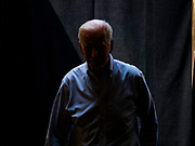 20 AUGUST 2019 - PROLE, IOWA: Former Vice President JOE BIDEN waits to take the stage during a campaign appearance. Vice President Biden is campaigning in Iowa to be the Democratic nominee for the US Presidency. He spoke to about 200 people in Prole Tuesday afternoon. Iowa traditionally hosts the first event of the presidential election cycle. The Iowa caucuses are Feb. 3, 2020.         PHOTO BY JACK KURTZ