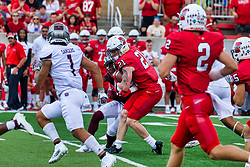 NORMAL, IL - October 02: Cole Mueller makes contact with the Bears defense during a college football game between the Bears of Missouri State and the ISU (Illinois State University) Redbirds on October 02 2021 at Hancock Stadium in Normal, IL. (Photo by Alan Look)