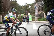 The leader of the Volta Catalunya 2016 cycle race, Colombian Nairo Quintana, successfully defends his jersey from Alberto Contador and Dan Martin as the peloton climbs Montjuic, Barcelona, on the last stage of the Volta Catalunya 2016 cycling race. <br /> <br /> El líder de la carrera ciclista Volta Catalunya 2016, Colombia Nairo Quintana, defiende con éxito su maillot de Alberto Contador y Dan Martin como el pelotón sube Montjuic, Barcelona, en la última etapa de la carrera ciclista Volta Catalunya 2016.<br /> <br /> El líder de la cursa ciclista Volta Catalunya 2016, Colòmbia Nairo Quintana, defensa amb èxit el seu mallot d'Alberto Contador i Dan Martin com el pilot puja Montjuïc, Barcelona, en l'última etapa de la cursa ciclista Volta Catalunya 2016.