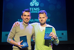 Ales Macek and Klemen Kadivnik at Slovenian Tennis personality of the year 2016 annual awards presented by Slovene Tennis Association Tenis Slovenija, on December 7, 2016 in Siti Teater, Ljubljana, Slovenia. Photo by Vid Ponikvar / Sportida