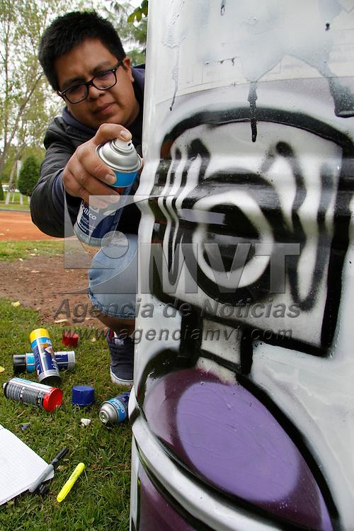Toluca, México.- Jóvenes grafitteros  en coordinación con el Instituto de la Juventud Municipal de Toluca, llevan a cabo el programa de embellecimiento de botes de basura instalados en parques públicos de la ciudad, el primer parque es el Vicente Guerrero en donde ya se pueden observar 17 depósitos en el lugar. Agencia MVT / Crisanta Espinosa