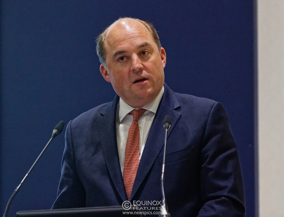 London, United Kingdom - 11 September 2019<br /> The Rt Hon Ben Wallace MP. Secretary of State for Defence for the UK Government presents keynote address speech to audience at DSEI 2019 security, defence and arms fair at ExCeL London exhibition centre.<br /> (photo by: EQUINOXFEATURES.COM)<br /> Picture Data:<br /> Photographer: Equinox Features<br /> Copyright: ©2019 Equinox Licensing Ltd. +443700 780000<br /> Contact: Equinox Features<br /> Date Taken: 20190911<br /> Time Taken: 12390950<br /> www.newspics.com