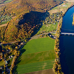 Farms, Sugarloaf Mountain and the Connecticut River in Deerfield, Massachusetts.