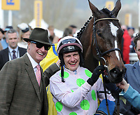 National Hunt Horse Racing - 2019 Cheltenham Festival - Thursday, Day Three (St Patrick's Day)<br /> <br /> Winner, P Townend on Min with Owner, Rich Ricci in the 14.50 Ryan Air Steeple Chase (Grade 1, Class 1), at Cheltenham Racecourse.<br /> <br /> COLORSPORT/ANDREW COWIE