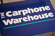 Sign for the mobile phone brand and shop Carphone Warehouse in Birmingham, United Kingdom.