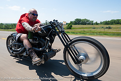 Mike Halachik on the Cycle Source Ride during the 78th annual Sturgis Motorcycle Rally. Sturgis, SD. USA. Wednesday August 8, 2018. Photography ©2018 Michael Lichter.