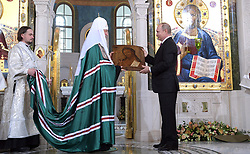 May 25, 2017 - Moscow, Russia - May 25, 2017. - Russia, Moscow. - Russian President Vladimir Putin (right) and Patriarch Kirill of Moscow and All Russia (in centre) visit new temple complex of Moscow's Sretensky Monastery. (Credit Image: © Russian Look via ZUMA Wire)