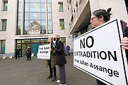 Supporters of Julian Assange hold banners and placards outside Westminster Magistrates Court in London on Friday, Dec 11, 2020. <br /> <br /> Assange, an Australian editor, publisher, and activist who founded WikiLeaks in 2006, is awaiting the decision of Judge Vanessa Baraitser as to whether he will be extradited to the United States. After just over 10 years in detention, Mr Assange faces up to 175 years in prison for his role in publishing classified US documents which revealed allegations of war crimes and other crimes perpetrated by US-led forces in Iraq, Afghanistan and US-occupied Guantanamo Bay, Cuba. (VXP Photo/ Giovanni Strondl)