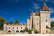 Chateau de la Marthonie, XV, XVI, XVII Century architecture in historic town of St Jean de Cole, France