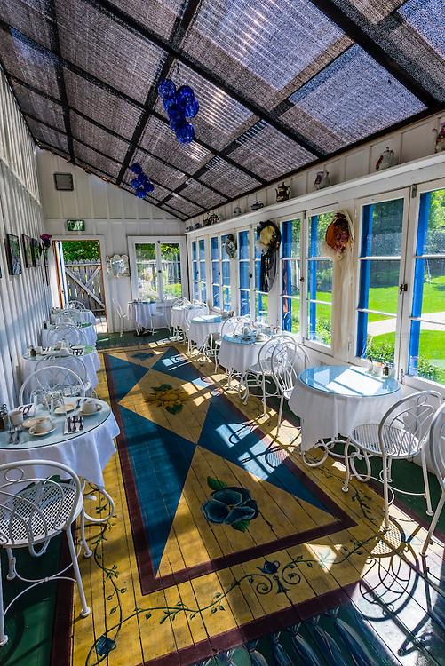 Tea Room, Poppies Restaurant at Jewell Gardens, Skagway, Alaska USA.