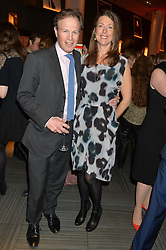 TOM BRADBY and his wife CLAUDIA at the 2014 Costa Book of The Year Awards held at Quaglino's, Bury Street, London on 27th January 2015.  The winner of the Book of The Year was Helen Macdonald for her book H is for Hawk.