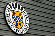 The St Mirren FC badge proudly displayed on the main stand of the The Simple Digital Arena ahead of the Ladbrokes Scottish Premiership match between St Mirren and Hibernian, Paisley, Scotland on 29th September 2018.