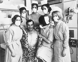 File photo dated 28/05/68 of Frederick West, 45, of Leigh on Sea, Essex, who was Britain's first heart transplant patient, pictured with his nurses in his special suite at the National Heart Hospital in Marylebone, London. Mr West, received the heart of a 26-year-old Irish-born carpenter who died following a fall at a London building site. The NHS will celebrate its 70th anniversary on Thursday 5th July 2018.