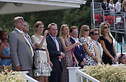 Watcvhing from the Royal Box. Paul Barton and his daughter Mischa Barton, tom Hollander and Dixie Chassay.  Cartier International Polo. Guards Polo Club. Windsor Great Park. 30 July 2006. ONE TIME USE ONLY - DO NOT ARCHIVE  © Copyright Photograph by Dafydd Jones 66 Stockwell Park Rd. London SW9 0DA Tel 020 7733 0108 www.dafjones.com