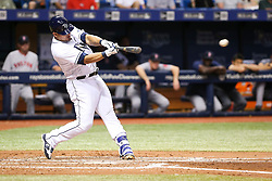 July 6, 2017 - St. Petersburg, Florida, U.S. - WILL VRAGOVIC   |   Times.Tampa Bay Rays catcher Wilson Ramos (40) connects for an RBI double, scoring first baseman Logan Morrison (7), in the fourth inning of the game between the Boston Red Sox and the Tampa Bay Rays at Tropicana Field in St. Petersburg, Fla. on Thursday, July 6, 2017. (Credit Image: © Will Vragovic/Tampa Bay Times via ZUMA Wire)