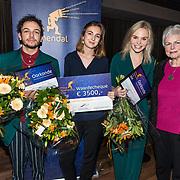 NLD/Hilversum/20181213 - Uitreiking Philip Bloemendal Prijs 2018, winnares Saskia Houttuin samen met genomineerden Sahil Amar Aïssa en Charlotte Nijs en Mieke Bloemendal
