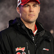 NASCAR Sprint Cup driver Kevin Harvick (29) is seen during the driver introductions prior to the NASCAR Sprint Unlimited Race at Daytona International Speedway on Saturday, February 16, 2013 in Daytona Beach, Florida.  (AP Photo/Alex Menendez)