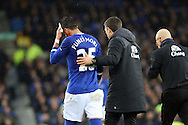 Ramiro Funes Mori of Everton is led off the pitch for treatment to a head wound. The Emirates FA cup, 3rd round match, Everton v Dagenham & Redbridge at Goodison Park in Liverpool on Saturday 9th January 2016.<br /> pic by Chris Stading, Andrew Orchard sports photography.